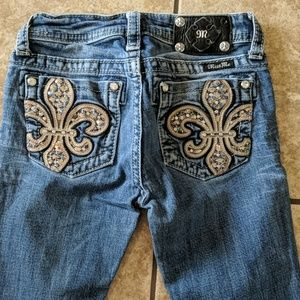 Girls MISS ME bootcut jeans med wash bling sz 12